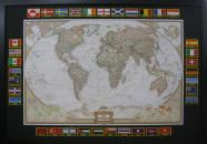 Framed Map with Embroidered Flags