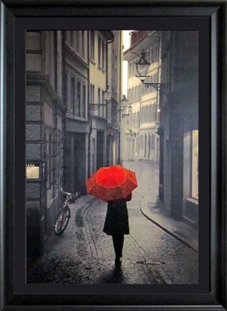 Red Rain Figurative Framed Art Wall Decor Art