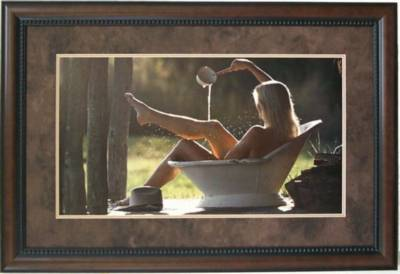 Cowgirl In Tub Bathroom Framed Art Wall Decor Art