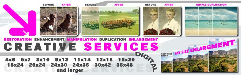Digital Printing, restoration and enlarging.