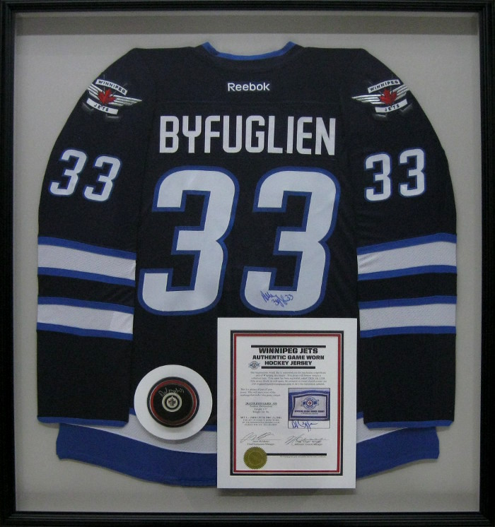 sports shoes 32400 cd40e Framed Winnipeg Jets - Dustin Byfuglien Jersey | Examples ...