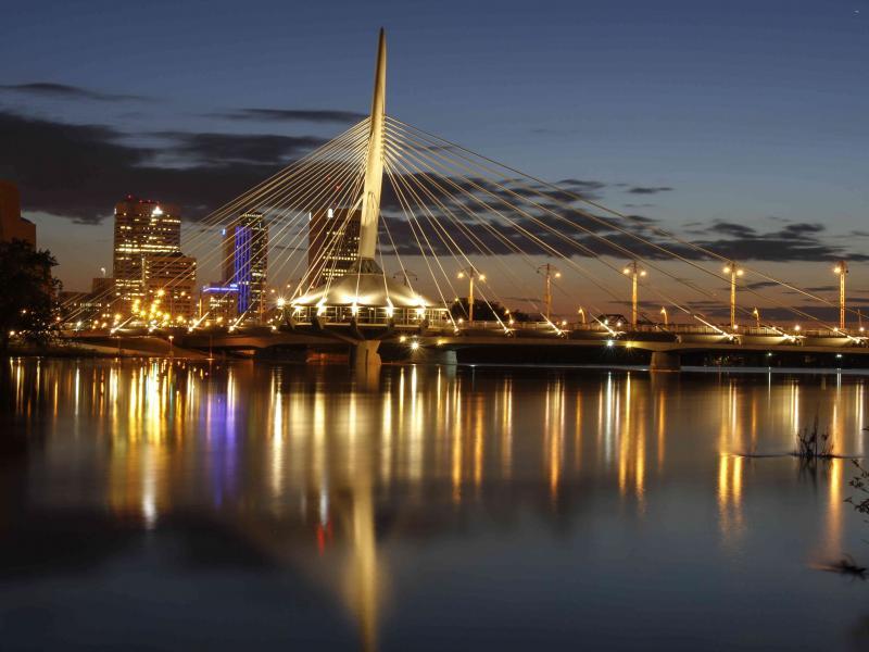 Provencher Bridge At Night Winnipeg Scenes Wall Decor